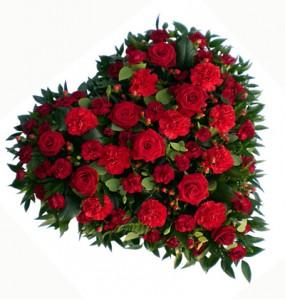 Cuore Funebre Rose Rosse